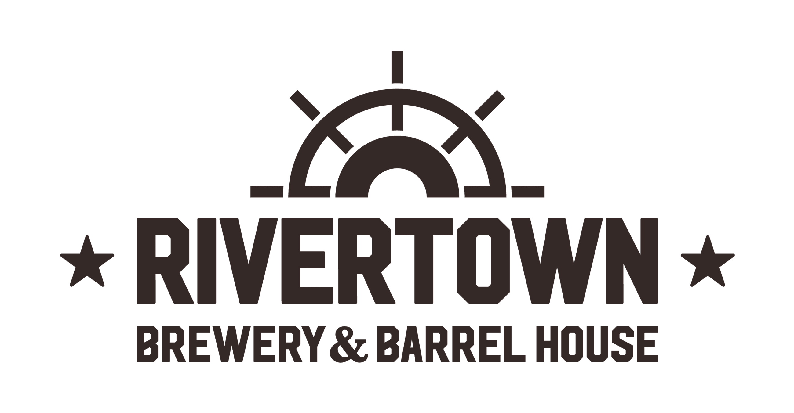 Brown text that says RIVERTOWN BREWERY AND BARREL HOUSE with brown paddle wheel above the text Opens in new window